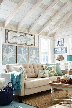 #DiscountLaminateFlooring Beach Living Room, Coastal Living Rooms, New Living Room, Living Room Furniture, Cottage Style Living Room, Bedroom Beach, Beach Room, Coastal Bedrooms, Cottage Furniture