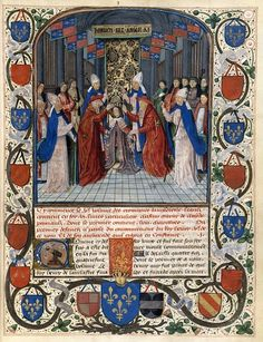 :  The coronation of King Henry V of England (from Chroniques d'Angleterre by Jean de Wavrin) Source