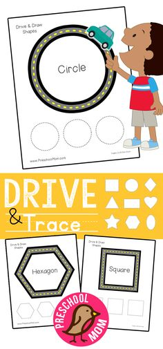 Hands-on Preschool Math Printables: Drive and Trace Shapes. This free set is perfect for engaging young students in the classroom. Shape Tracing Worksheets via @prekmoms
