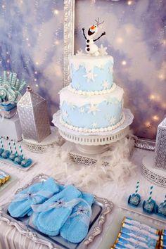 Frozen winter wonderland themed birthday party via Kara's Party Ideas KarasPartyIdeas.com Printables, cake, favors, decor, cupcakes, recipes, supplies, etc! #frozen #disneysfrozen #frozenparty (26)