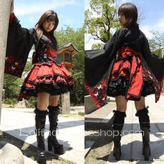 Black Japanese Gothic Lolita Furisode Yukata