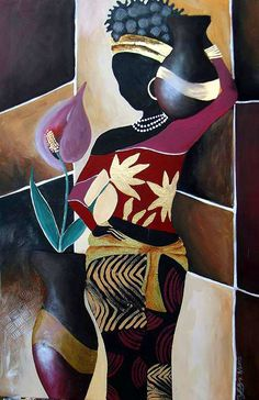 Art - African. I chose this one because the woman actually is part of the ground. She is shaped very similarly to the vase next to her. And the way she is patterned blends well with the surroundings. She is the figure though.