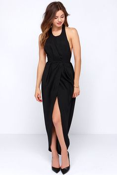 Passion for Fashion Backless Black Maxi Dress at Lulus.com! - $48.00