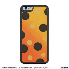 Customizable Dots On Blended OrangeToYellow Carved® Maple iPhone 6 Bumper