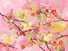 love love love this! Cherry Blossom Birdies Pink Canvas from Rosenberry Rooms