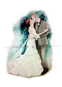 *original piece,watercolor painting,NOT A PRINT*  The wedding couple package includes:  1. Original watercolor painting, standard size 9x12 inches 2.file of pencil work before adding color; 3. high resolution 600 dpi digital file of your illustration. 4.graphics and background customizable without any additional fees.  *illimitate redraw request before adding colors*