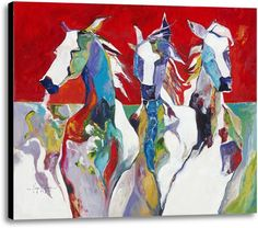 Picture of Three's a Crowd Roaming the Range. #horses #westernart #art #homedecor #wallart #canvas #reds