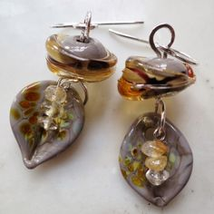 Lucinda Storms : Belvedere Beads - 'Leaf & Berry' earrings - glass, citrines and sterling silver