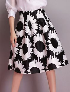 Black Sunflowers Print Flare Skirt 17.83