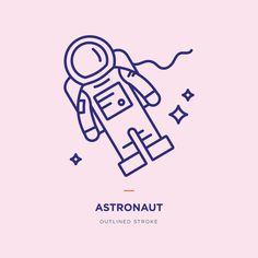 Astronaut line icon design Astronaut Drawing, Astronaut Illustration, Astronaut Tattoo, Graphic Illustration, Line Illustrations, Design Ios, Flat Design Icons, Icon Design, Logo Design