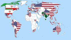 Eine Karte, die die Ergebnisse einer Umfrage zeigt, in der Menschen danach gefragt wurden, wen sie als größte Bedrohung für den Weltfrieden ansehen.