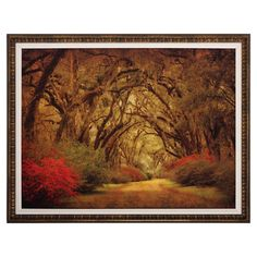 Framed print of a road in an oak tree forest.Product: Wall artConstruction Material: Matboard, glass and polystry...