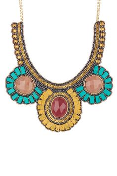 Sequin, Beads, & Stone Statement Necklace