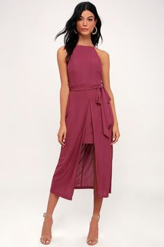 7e20d59be6 We are loving the chic appeal of the Black Swan Caroline Washed Magenta  Midi Dress! Ribbed fabric dances from the apron neckline into a layered  midi skit.