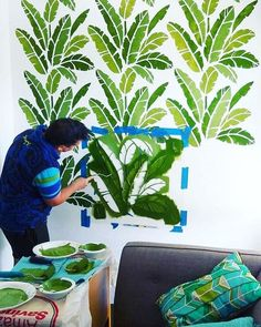The Banana Leaf allover stencil will help you achieve a trendy tropical wall design in any room. This palm leaf stencil design will give any space a fresh new look and is so easy to use! Cutting Edge Stencils offers beautiful stencils at affordable prices Wall Stencil Patterns, Stencil Designs, Paint Designs, Mural Art, Wall Murals, Leaf Stencil, Stencil Painting On Walls, Cutting Edge Stencils, Awesome Bedrooms