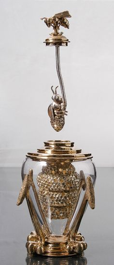 "Every 21stC Rococo home should have one of these divine over the top honey jars!  Honey Home: Queen Bee Honey Dipper. Bronze, Silver Plating, Glass; Cast, Fabricated 10"" x 5"" x5"" by Elizabeth Staiger.com"