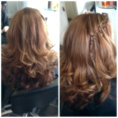 Bouncy blow dry and waterfall braid