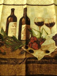 Add A Flair To Your Wine Or Tuscan Themed Kitchen With This Complete Set Of Kitchen Window Curtains Featured Are Bottles Of Wine Glasses Of Wine W