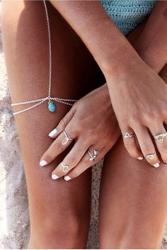 Boho jewelry // Rings, bracelet, necklace, earrings + flash tattoos // Bohemian style silver and turquoise // Bronze and Gold Jewellery // For Gypsy wanderers + Free Spirits // Leg Chain //