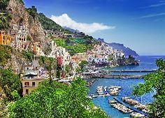 Włochy, Positano, Morze, Hotele, Góry, Łodzie, Zdjęcie miasta, Wybrzeże, Z lotu…
