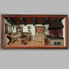 Large Vintage German Shadow Box Framed in Glass Diorama Kitchen Home Scene | eBay