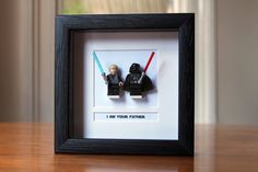Lego Star Wars Framed Mini Figures Darth & Luke 'I am your Father' Decoracion Star Wars, Star Wars Room, Han And Leia, Text Background, Star Wars Poster, Batman Poster, Home And Deco, Millennium Falcon, You Are The Father