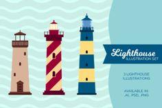 http://Unique Lighthouse illustration set. Comes with 3 hi-res PNG files, Illustrator