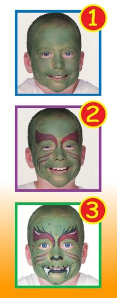 GREEN MONSTER face painting for kids