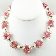 Vintage Pink Blown Glass Flower Beads Necklace - Garden Party Collection Vintage Jewelry