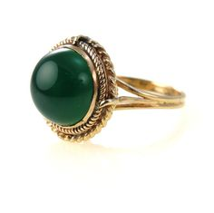 Art Deco High Set Green Onyx Cabochon 14k Gold Ring #vbantiquejewelry