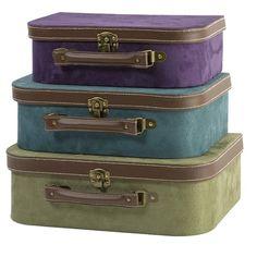Velvety Purple, Turquoise & Sage Storage Suitcases.