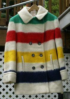Vintage Womens Hudson Bay 100% Wool Blanket Double Breasted Winter Coat