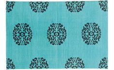 gorgeous turquoise rug from madeline weinrib - so soft & the color pops!