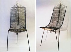 Upcycled ~~ Wire Hanger Chair!  HEY…we are doing weaving with hangers this month might at well move into chairs next!