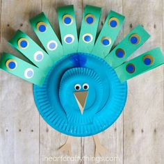 This paper plate peacock craft is simple to make and is a great paper plate craft, preschool craft and bird craft for kids.