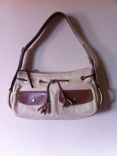 Authentic HOGAN Ivory Canvas Brown Leather Shoulder Bag Handbag Purse