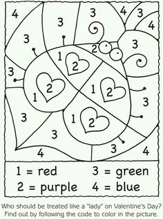 """Valentine's Day Math Activities: Lady bug hearts color by number. Great for one of those """"my brain is fried"""" days. Valentine Theme, Valentine Day Crafts, Valentine Ideas, Valentine Colors, Valentines Day Coloring, Valentine Nails, Color By Number Printable, Valentines Day Activities, Thanksgiving Activities"""