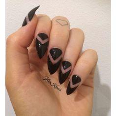 x Negative black x Black negative space V false nails found on Polyvore featuring polyvore, beauty products, nail care, nail treatments, nails, makeup, nail art and nail polish