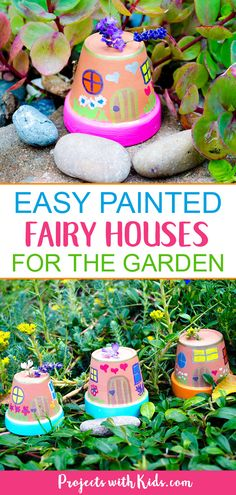 , These fairy houses are just adorable and so easy to make! Kids will love creating these painted fairy houses and finding special places for them in th. , Easy Painted Fairy Houses for the Garden Craft Projects For Kids, Fun Crafts For Kids, Garden Crafts For Kids, Garden Projects, Craft Ideas, Fun Things For Kids, Kids Outdoor Crafts, Fairy Gardens For Kids, Magic For Kids