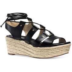 Michael Michael Kors Sofia Platform Lace-Up Sandals (200 CAD) ❤ liked on Polyvore featuring shoes, sandals, black, platform shoes, black sandals, lace-up sandals, black strap shoes and strappy sandals
