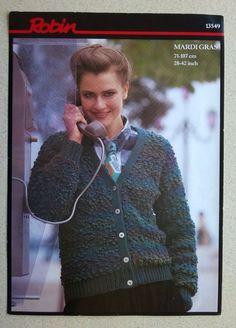 VINTAGE ROBIN KNITTING PATTERN (NO 13549) LADIES CHUNKY CARDIGAN SIZE 28  - 42 Chunky Cardigan, Vintage Knitting, Robin, Knitting Patterns, Lady, Crochet, European Robin, Knitting Paterns, Robins