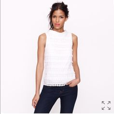 J Crew Pom Pom Tank Top Super cute top. The first pic is the stock photo but actual top is blue. Size 0. 100% cotton. No tears or stains. J. Crew Tops Tank Tops