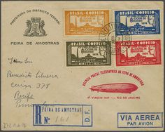 1934 (Sept.) 7th/8th/9th South America Flights - Lot four covers, all with special 'FEIRA DE AMOSTRAS' flight cachets in green or magenta an...