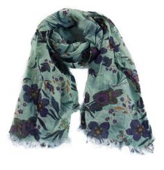 Scarf in linen and cotton with floral print.