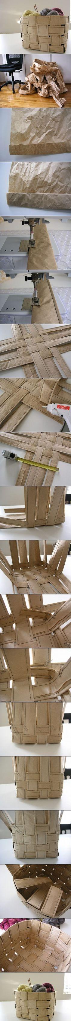 DIY RECYCLED PAPER BASKET / recycler du papier, le coudre et le tresser a la manière de la vannerie pour en faire un panier / Tuto / DIY