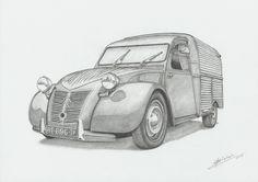 "Título / Title: ""Citroën 2CV furgoneta 1955"" Técnica / Technique: Lápiz grafito sobre papel / Graphite on paper. Dimensiones / Dimensions: 29,7 cm. x 21 cm. Artista / Artist: Víctor Mario Blebel. Año / Year: 2017"
