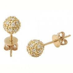 Sydney Evan earrings: Yellow-Gold & Pavé Diamond Ball Studs