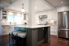 Remarkable Kitchen Countertops With Silestone Lagoon: Awesome Kitchen With White Cabinet And Silestone Lagoon Countertop Plus Upholstered Seat Bar Stool Design