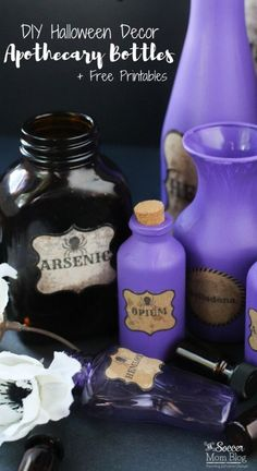 These DIY Halloween Potion Bottles are the perfect spooky touch to your party decor! Easy step-by-step tutorial and free printable labels included! Halloween Apothecary Labels, Halloween Potion Bottles, Halloween Labels, Halloween Diy, Halloween Wreaths, Halloween 2020, Halloween Costumes, Halloween Candy Bar, Halloween Spells