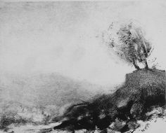 Imaginary Vermont Landscape from my imagination (monotype)
